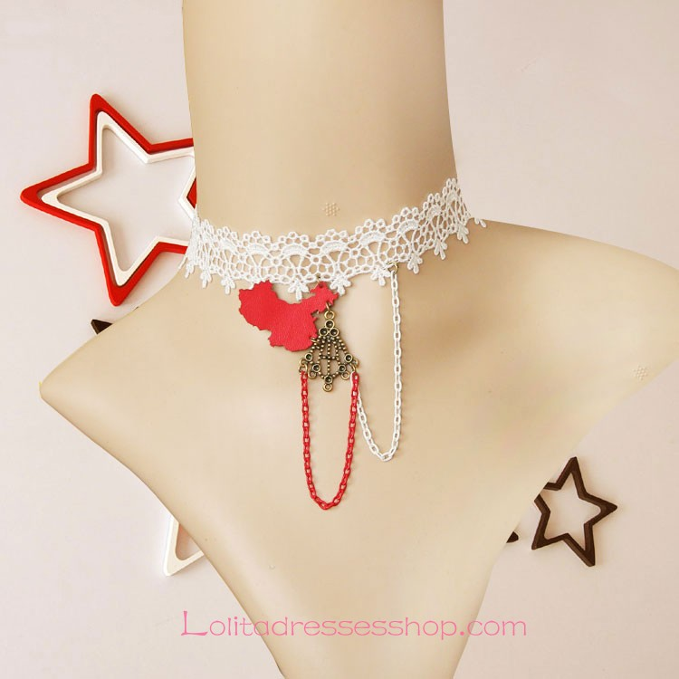Lolita White Lace Casual Street Map Necklace