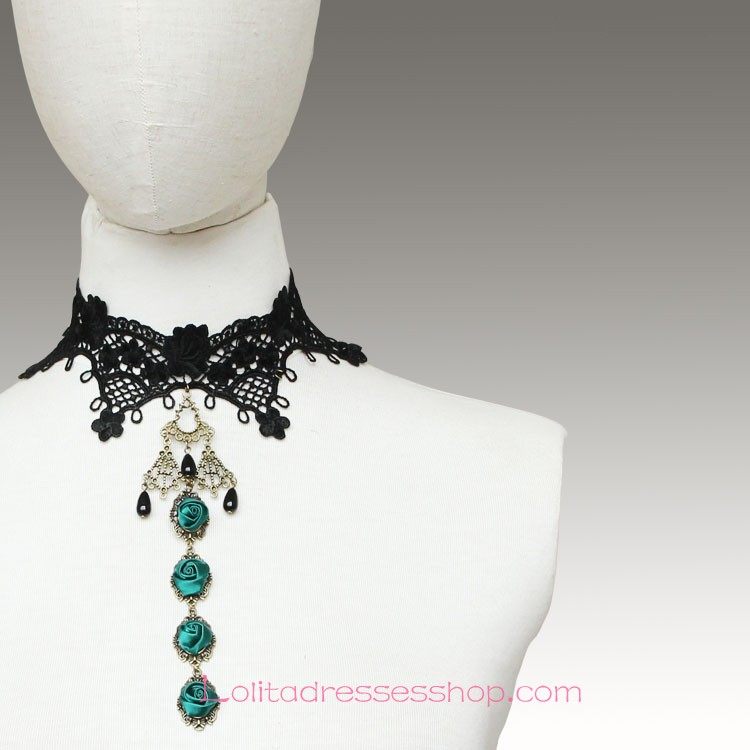 Lolita Black Lace Wedding Dress Fashion Rose Necklace