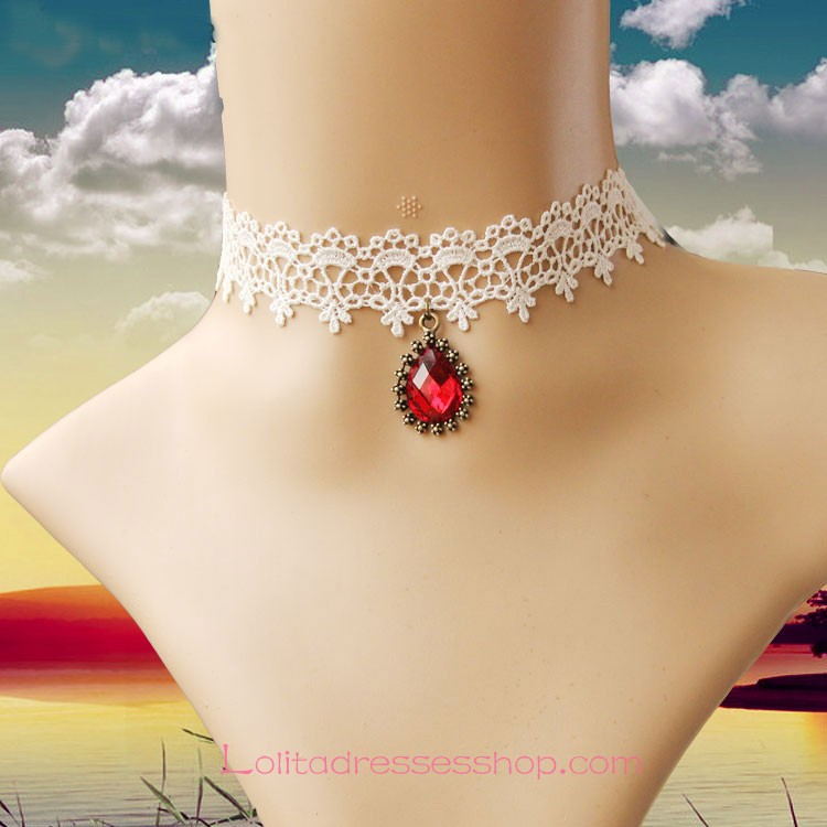 Lolita White Drop Lace Bridal Fashion Red Gem Necklace
