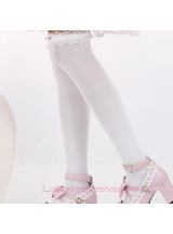 Lovely Fashion White Purfle Sweet Lolita Knee Stockings