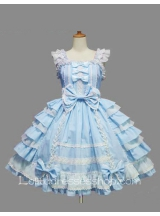 Lolita Blue Cotton White Lace Square Neck Cap Sleeve knee-length Ruffles Bow Sweet Dress