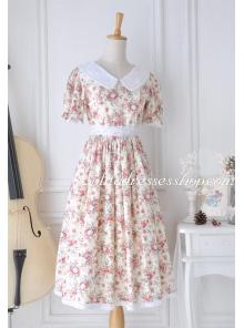 Idyllic White Cotton Doll Collar Floral Lace Trim Fashion Lolita Dress