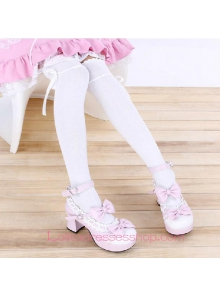 Lovely White Bow Sweet Lolita Knee Stockings
