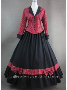 Red Plaid and Bows Black Long Skirt Gothic Victorian Lolita Dress