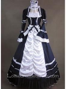 Aristocrat Style Black and White Ruffled Gothic Victorian Lolita Dress