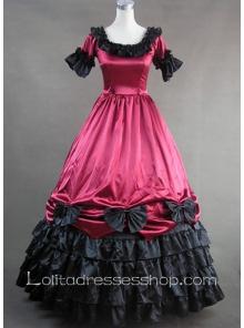 Gothic Victorian Deep Red Ruffled Skirt Lolita Dress