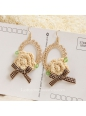 Lolita Sen Department Handmade Retro Wild Flower Bow Earring