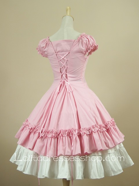 Cheap Pink Sweetheart Puff Sleeves Knee-length Ruffles Classic ...