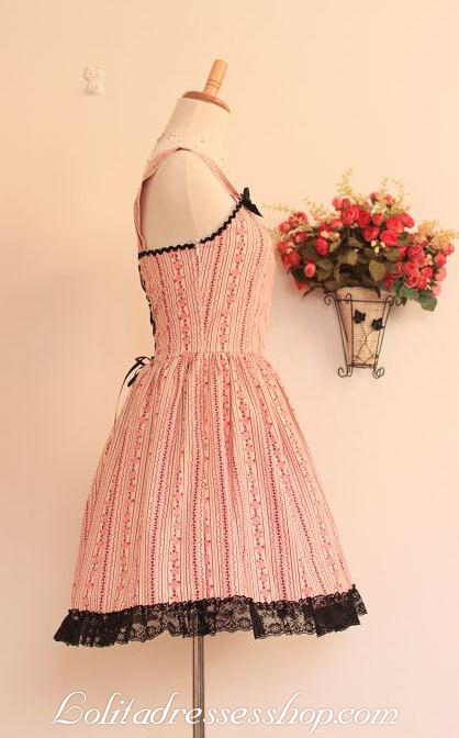 Pink Cotton Black Lace Trim Straps Sleeveless Fashion Lolita Dress