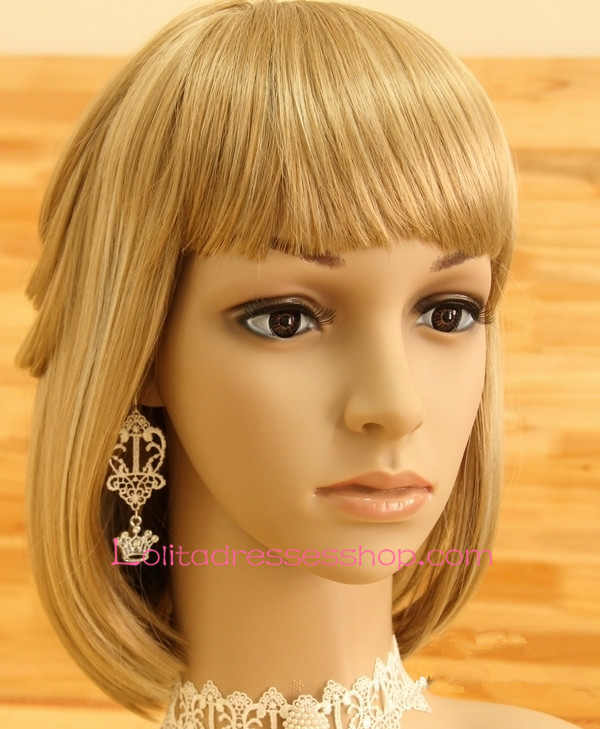Lolita Wonderland White Lace Crown Earring