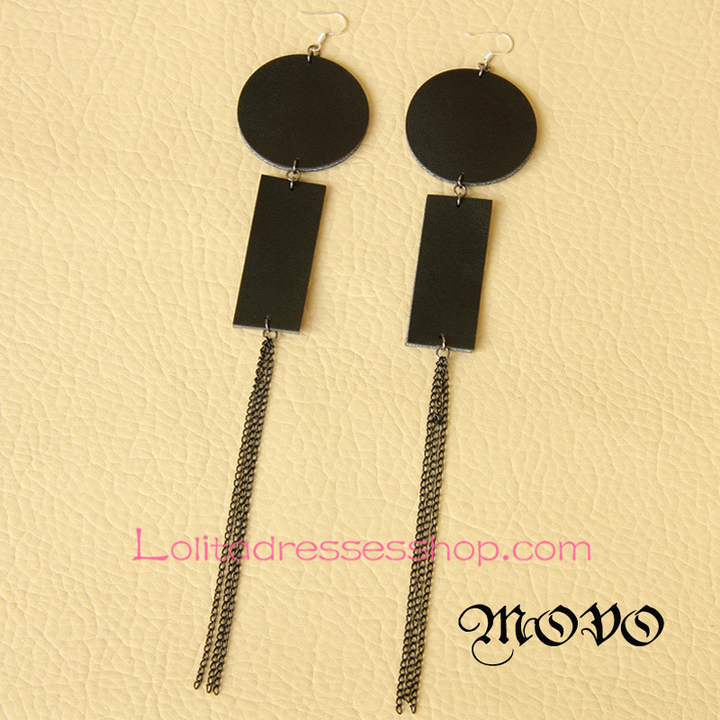 Lolita Geometric Pattern Long Tassels Nightclub Earring