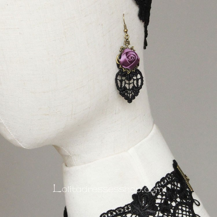 Lolita Retro Fashion Lace Rose Earring