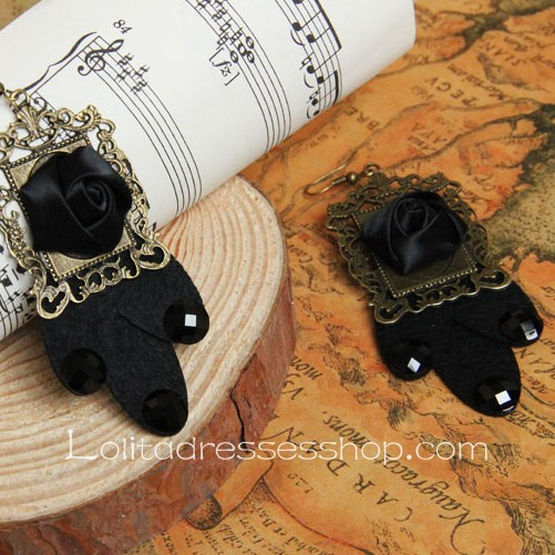 Lolita Gothic Style Black-Rose Retro Handmade Fashion Earring