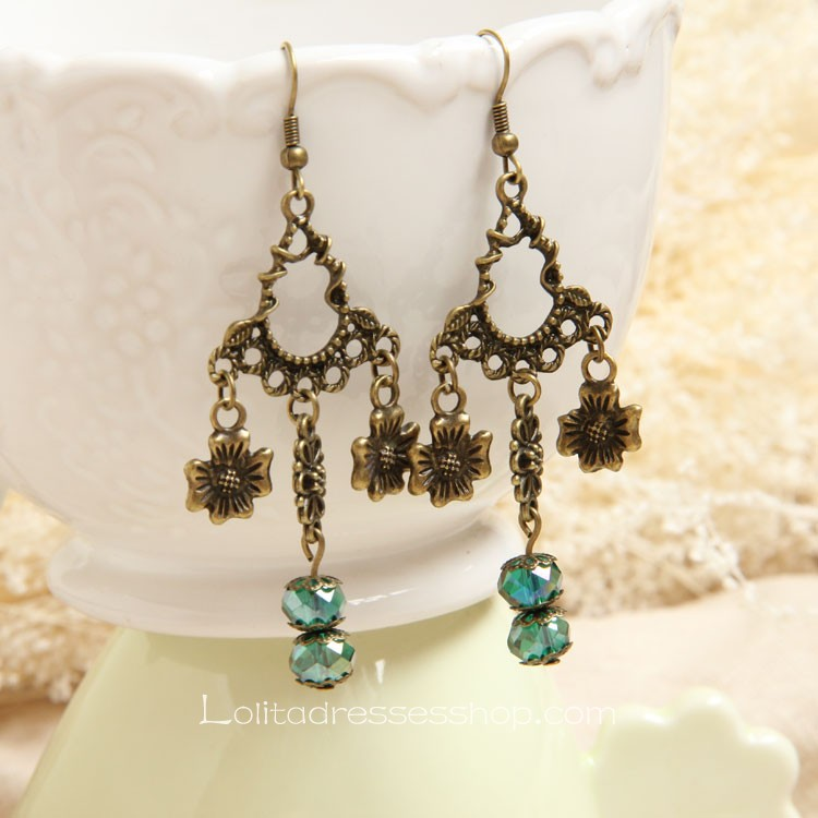 Lolita Gothic Style Handmade Artificial Crystal Flower Retro Fashion Earring