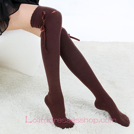 Lovely Coffee Bow Sweet Lolita Knee Stockings