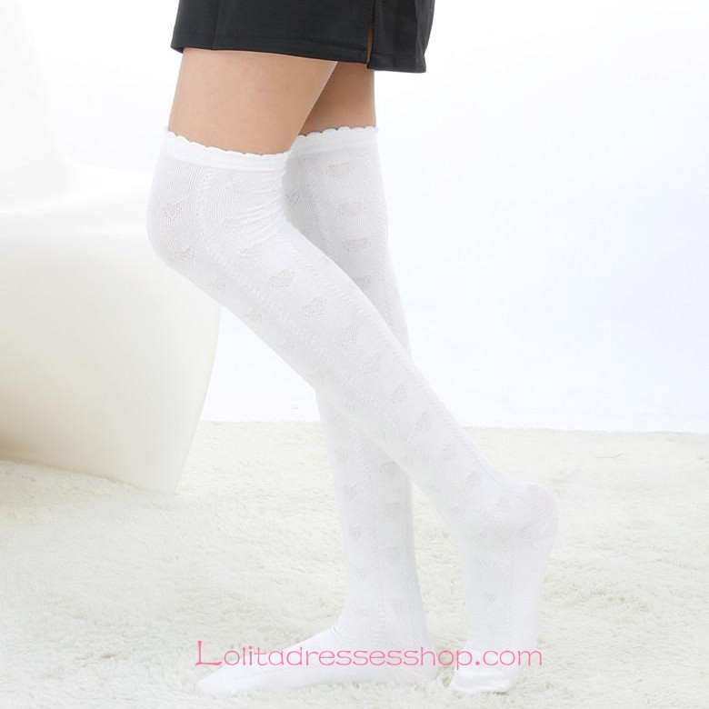 Lovely White Stylish Elegant Retro Embossing Lolita Knee Stockings