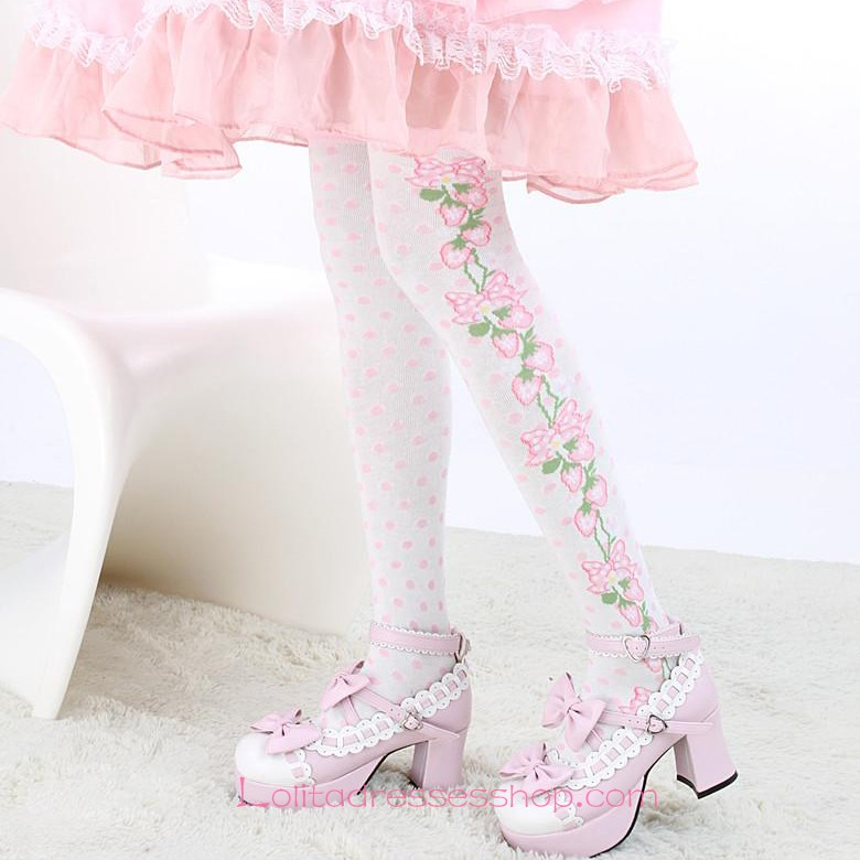 Lovely White Fashion Pink Strawberry and Dot Lolita Knee Stockings