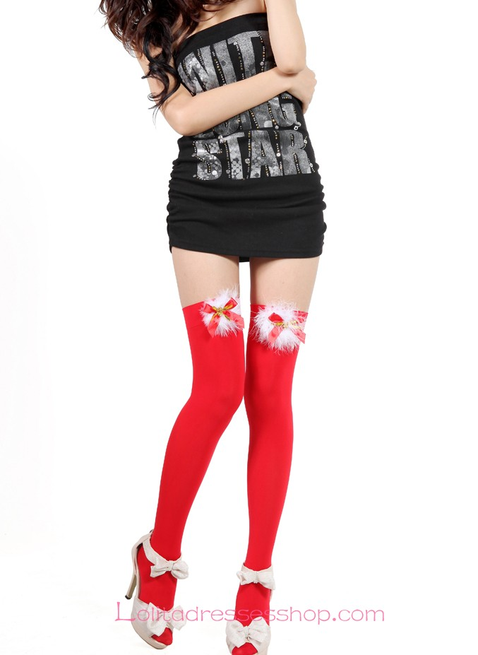 Bow Tinker Bell White Feather Chritmas Red Lolita Knee Stocking