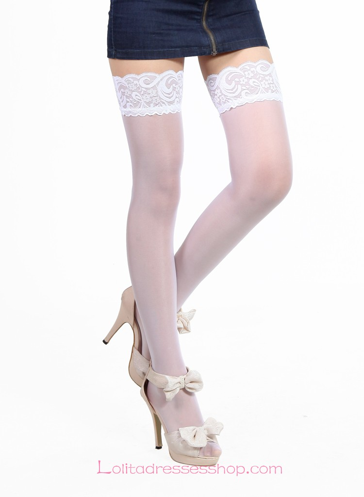 Kawaii Girl Lace Hem Vertical Sweetheart Lolita Knee Stockings