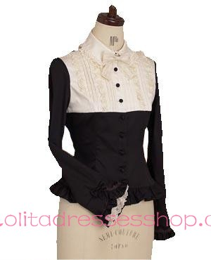 White and Black Cotton Lapel Long Sleeve Bowknot Lolita Blouse