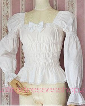 White Lace Trim Square Collar Elastic Princess Lolita Blouse