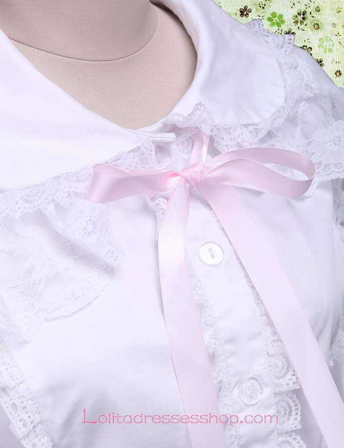Sweet Princess Trumpet Sleeves Doll Collar Lace Trim Lolita Blouse
