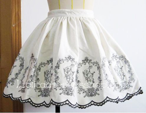 White Alice Poker Rabbit Embroidery Flounce Petal Hem Lolita Skirt