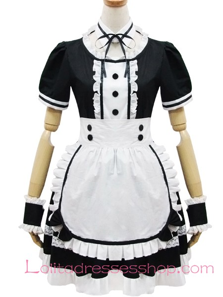Cosplay Black And White Lapel Short Sleeves Flouncing Maid Dress