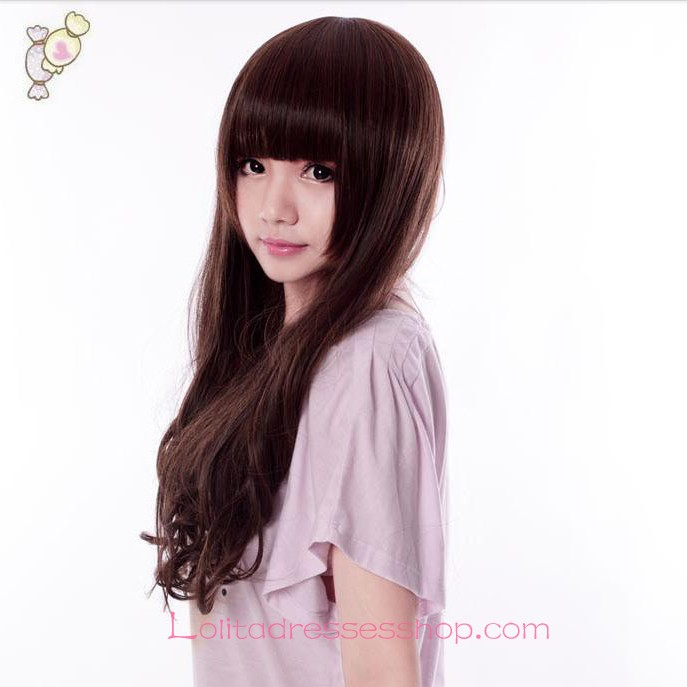 Lolita Neat Bang Long Curly Brown Maid Cute Cosplay Wig