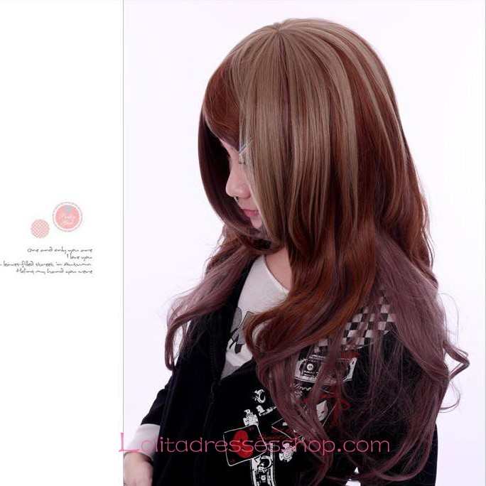Lolita Brown Long Curly Maid Cute Cosplay Wig