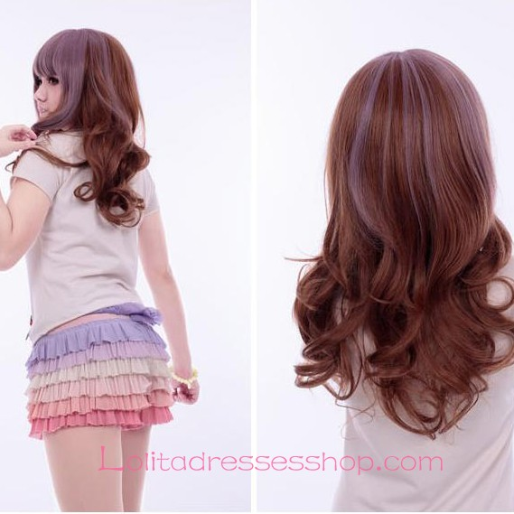 Lolita Fantasy Purple Brown Curly Maid Cute Cosplay Wig