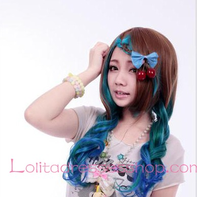 Lolita Green Brown Gradient Maid Cute Cosplay Wig