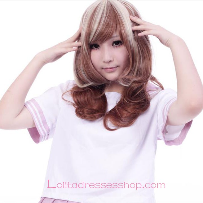 Lolita White Brown Mixed Maid Cute Cosplay Wig