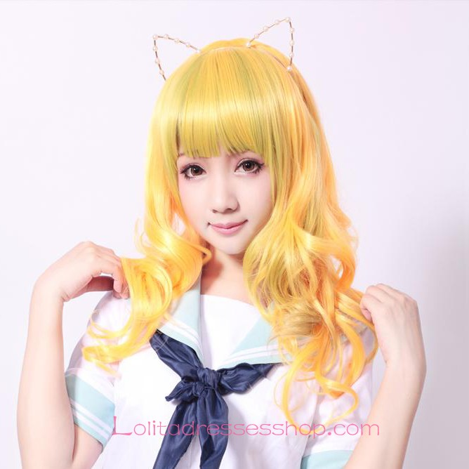 Lolita Fluorescent Yellow Maid Cute Cosplay Wig