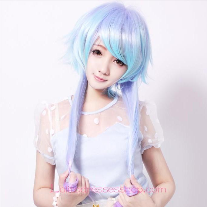 Cheap Lolita Green Purple Mixed Maid Cute Cosplay Wig Sale
