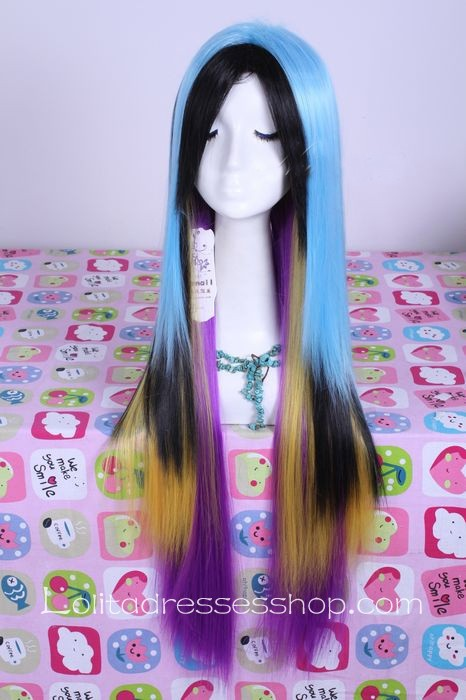 Multicolor Gradient Straight Modern Girl Lolita Cute Cosplay Wig