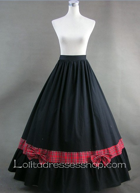 Cheap Red Plaid and Bows Black Long Skirt Gothic Victorian Lolita ...