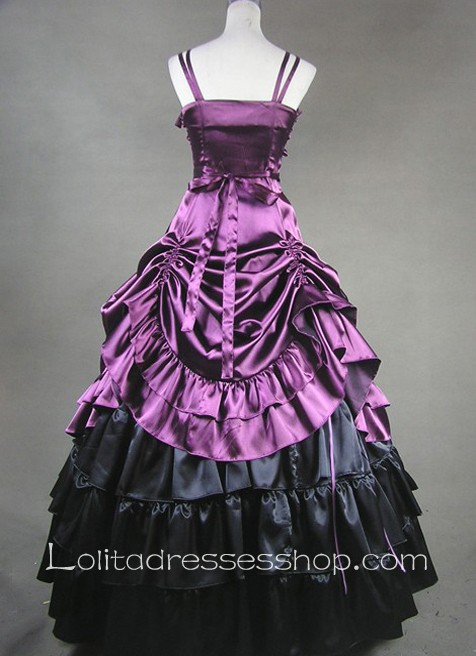 Rayol Purple Satin Straps Gothic Victorian Lolita Dress