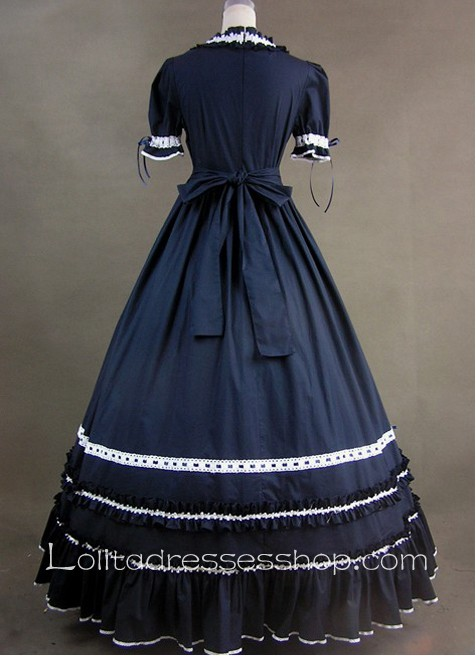 Aristocrat Style Black and White Ruffled Gothic Victorian Lolita Dress