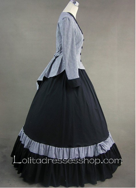 Bows and Buttons Decoration Shepherd Check and Black Gothic Victorian Lolita Dress