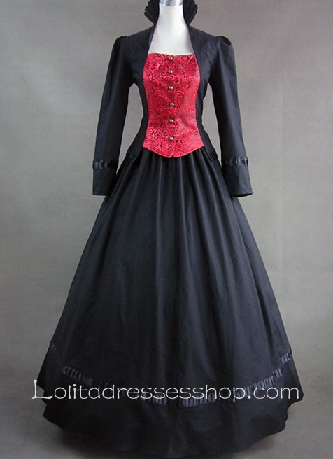 Buttons and Lace Decoration High Collar Gothic Victorian Lolita Dress