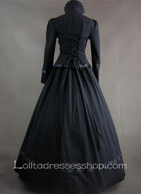 Ons And Lace Decoration High Collar Gothic Victorian Dress