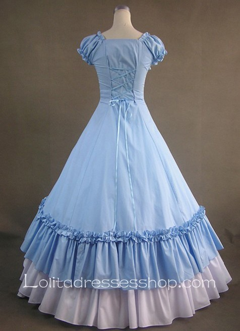 Cheap Gothic Victorian Sky Blue And White Short Sleeeves