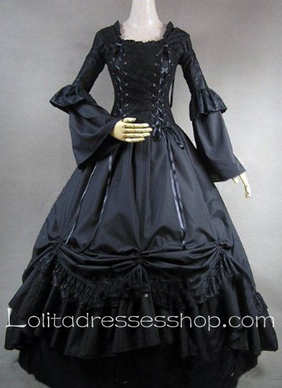 Gothic Victorian Lace Decoration Black Ball Gown Lolita Dress