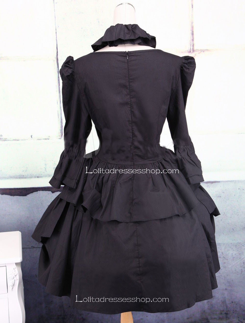 Black Cotton Square Neck Ruffles Punk Lolita Dress