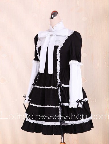 Bow Ties Lace Flounce Black and White Punk LOlita Dress