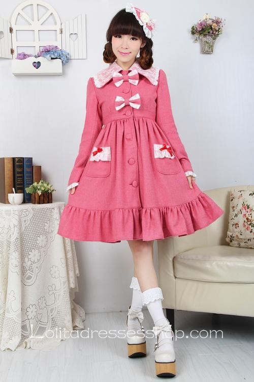Pink Red Wool Lapel Long Sleeves Bow Pocket Button Sweet Lolita Coat