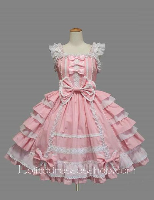 Lolita Pink Cotton White Lace Square Neck Cap Sleeve knee-length Ruffles Bow Sweet Dress