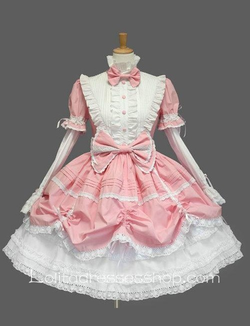 Lolita Pink White Cotton Stand Collar Long Sleeves Knee-length Bow Splicing Dress