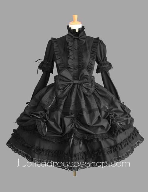 Lolita Plain Black Cotton Stand Collar Long Sleeves Knee-length Bow Splicing Dress